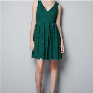 Zara green lace V-neck A-line mini dress
